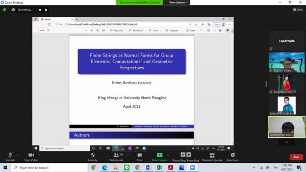 """ภาพบรรยายพิเศษทางวิชาการแบบออนไลน์ครั้งที่ 5 ประจำภาคเรียนที่ 2/2563 ในหัวข้อเรื่อง """"Finite Strings as Normal Forms of Groups-Computational ad Geometric Perspectives"""""""